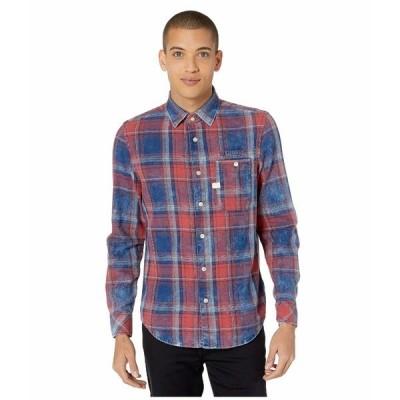 ジースター シャツ トップス メンズ Bristum One-Pocket Slim Shirt Indigo/Antic Red Check