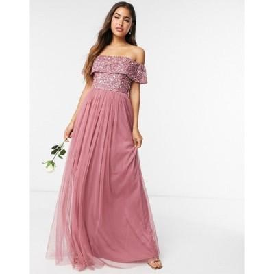 マヤ レディース ワンピース トップス Maya Bridesmaid off-the-shoulder maxi tulle dress with tonal delicate sequins in rose Rose