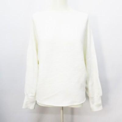 【中古】ルクールブラン le.coeur blanc リブ ニット セーター 長袖 ドルマン ボートネック 38(M相当) 白 ホワイト系