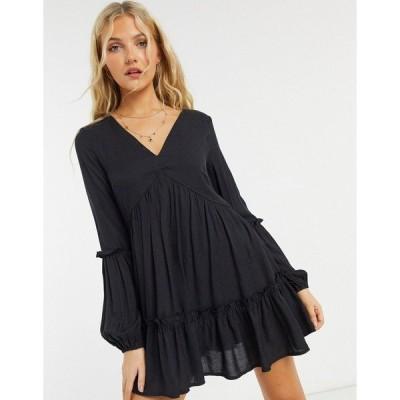インザスタイル レディース ワンピース トップス In The Style x Jac Jossa textured smock dress in black Black