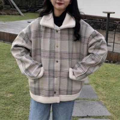 ボアブルゾン もこもこ 厚い ブルゾン カジュアル アウター 韓国 ファッション オルチャン レディース ボアコート チェック柄 ガーリー