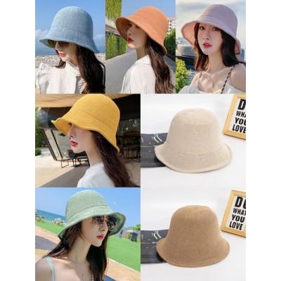 7色入帽子 レディース韓国ファッションバケットハット56-58cm Sunblock