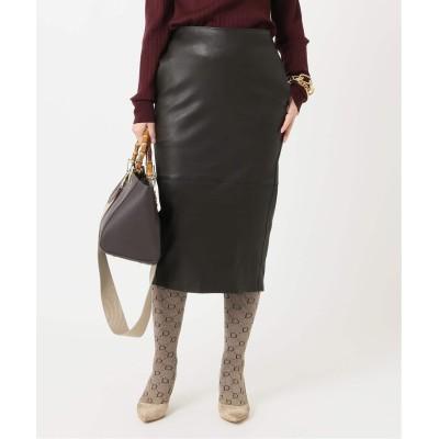 レディース ドゥーズィエム クラス leather スカート ブラウン 38
