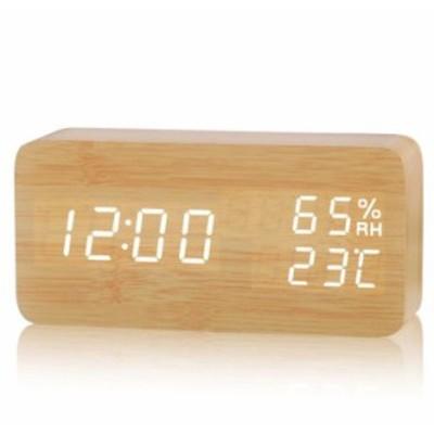 D-00564 置き時計 ギフトパムッケージ デジタル 目覚し時計 木目調 LED 大音量 アラー温度湿度計 ギフト包装 省エネ USB/乾電池給電 卓