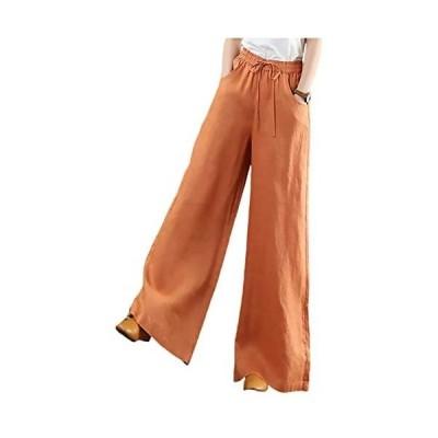 [エムエルーセ]5色展開 紐付き ハイウェスト パンツ ワイドパンツ 綿麻 風 無地 ゆったり ポケット付き レディース (オレンジ XL)