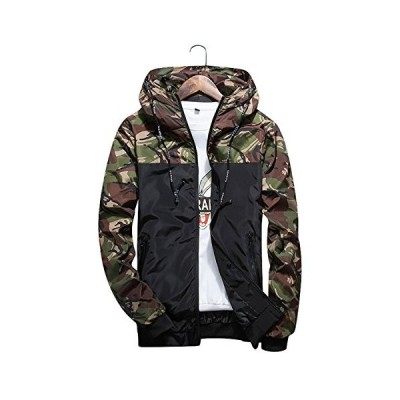 Cidee 防風登山軽量迷彩ジャケットナイロンジャケットパーレジャーファッションアウトドアアーミーグリーン-XL