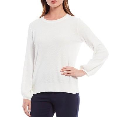 インベストメンツ レディース Tシャツ トップス Petite Size Long Puff Sleeve Chevron Textured Sweater