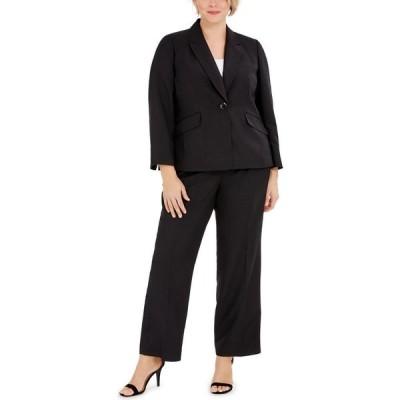 ル スーツ Le Suit レディース スーツ・ジャケット 大きいサイズ アウター Plus Size One-Button Notched-Collar Jacket and Pant Suit Black