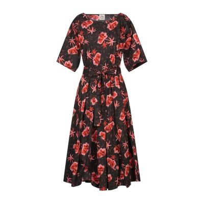 アティックアンドバーン ATTIC AND BARN 7分丈ワンピース・ドレス ブラック 38 コットン 100% 7分丈ワンピース・ドレス