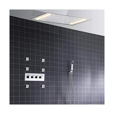 SJIUH Shower Faucet Set Bathroom 3 Function Ceiling Mounted Thermostatic LED Shower Head Set Rainfall Jet Shower Faucet Kit Set with Handhel