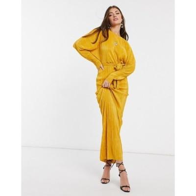エイソス レディース ワンピース トップス ASOS DESIGN plisse batwing wrap maxi dress with self tie belt in gold