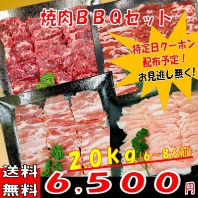 肉 バーベキュー 食材 牛肉 焼肉セット バーベキュー肉 ハラミ BBQ 肉 カルビ バラ 豚トロ BBQ食材セット 豚肉 焼肉 牛丼 2kg 6〜8人前