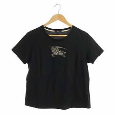 【中古】バーバリー ロンドン BURBERRY LONDON ロゴプリント Tシャツ カットソー クルーネック 半袖 5 黒 ブラック