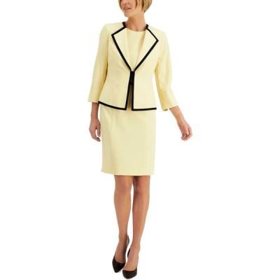 ル スーツ Le Suit レディース スーツ・ジャケット アウター Contrast-Trim Dress Suit Butter/Black
