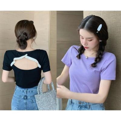全2色 半袖Tシャツ バックオープン ショット丈 切り替え スリム 着痩せ sweet系