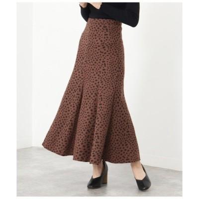 スカート 起毛レオパード柄マーメイドスカート