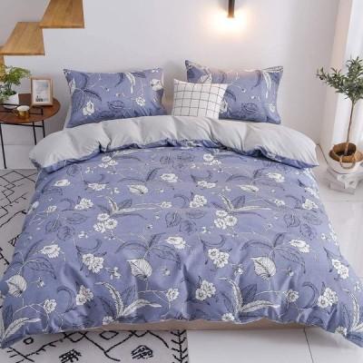 MH MYLUNE HOME 布団カバー シングル 3点セット ベッドカバー 和式 北欧 ボックスシーツ ふとんカバーセット 洗える 枕カバー(ブルー