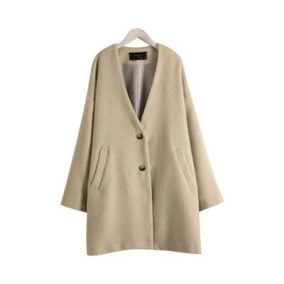 微起毛ノーカラーコート深Vネックアウター羽織物防寒ミモレ丈ボタン付ジャケット暖か裏地付きポケットレディース