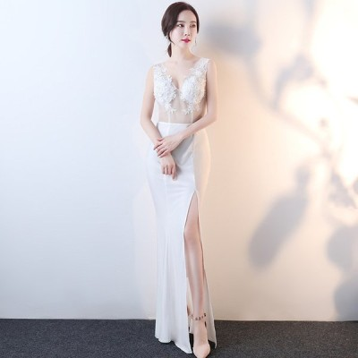 イブニングドレス キャバ ナイトクラブ パーティードレス 安いい 可愛い スリット セクシー Vネック シースルー