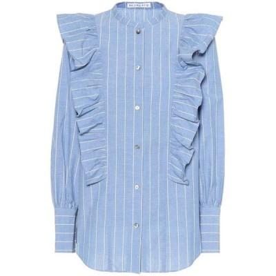 レジーナ ピヨ Rejina Pyo レディース ブラウス・シャツ トップス Isla cotton and linen shirt cotton stripe light blue