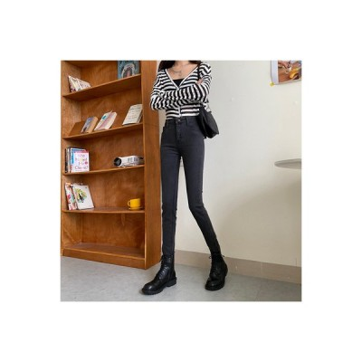 【送料無料】ハイウエストのジーンズ 女 年 秋冬 韓国風 フィート ロングパンツ 着 | 364331_A63990-6526561