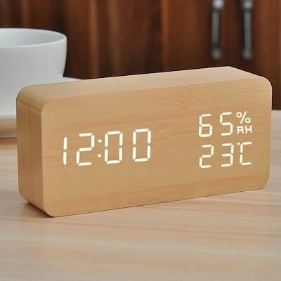 アラームクロックサイレントベッドサイド発光電子時計スマートデジタル木製クリエイティブアラームウォッチ学生向けシンプル