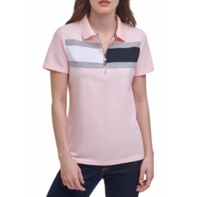 トミー ヒルフィガー レディース シャツ トップス Women's Zip Flag Polo Shirt Ballerina Pink