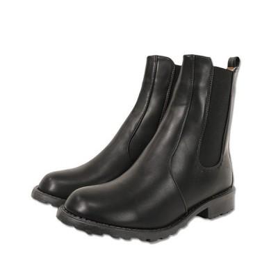 ブーツ フェイクレザーサイドゴアショートブーツ
