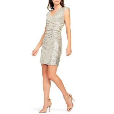 エイダン?エイダン?マトックス レディース ワンピース トップス Sequin Surplice V-Neck Cap Sleeve Ruched Dress Champagne Silver