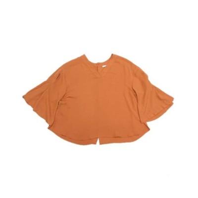 【中古】ローズバッド ROSE BUD シャツ ブラウス カットソー バックボタン 五分袖 F オレンジ/24 レディース 【ベクトル 古着】
