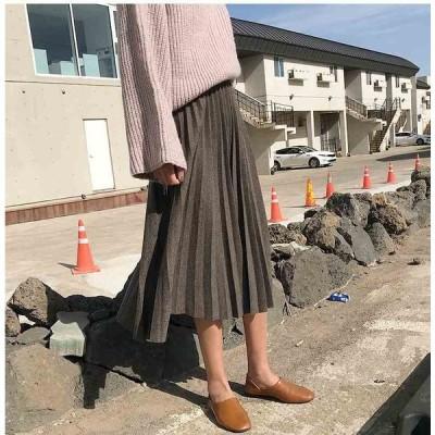 秋 ミモレ丈 レディース ニットスカート フレア プリーツ ロング Aライン 冬 体型カバー 大きいサイズ 無地 cn11234