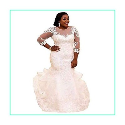 Liliesdresses Women's Plus Size Mermaid Wedding Dress Lace Sleeves Tailing Bridal Gown Backless Ivory Prom Dress White 17並行輸入品
