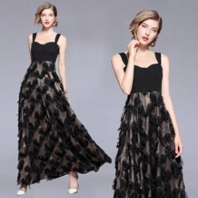 パーティードレス ロング丈 ロングドレス ブラックドレス 大きいサイズ 黒 ハート柄 春 夏 ワンピース ドレス ロング マキシワンピース