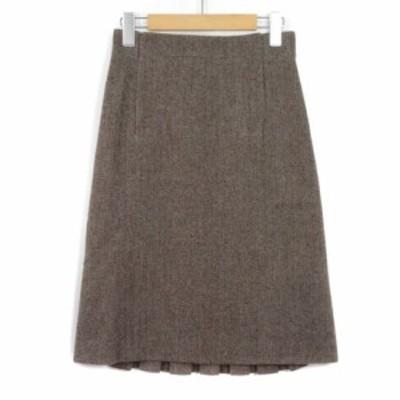 【中古】ウィムニールス WIM NEELS スカート ラップテイスト プリーツ ヘリンボーン 38 茶 ブラウン レディース