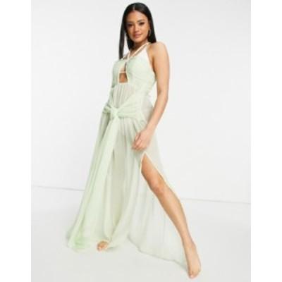 エイソス レディース ワンピース トップス ASOS DESIGN chiffon drape knotted maxi beach dress in mint green Mint green