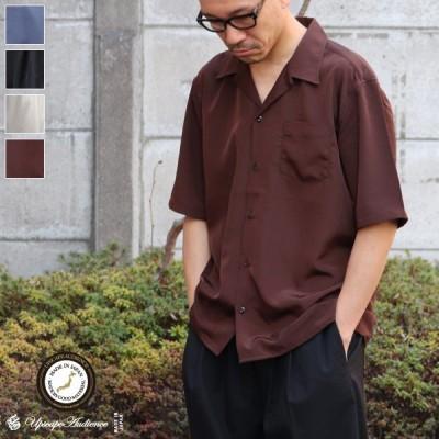 レーヨンライク ピーチファイユ オープンカラー ルーズフィットシャツ【MADE IN JAPAN】『日本製』/ Upscape Audience [AUD6121]