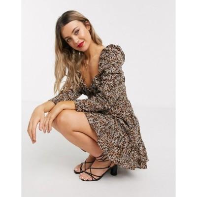 エイソス ミニドレス レディース ASOS DESIGN sweetheart neck broderie mini dress in leopard print エイソス ASOS