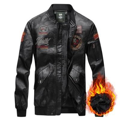 ライダースジャケット メンズ ジャケット レザージャケット バイク用 刺繍 アウター スリム おしゃれ