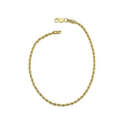新品未使用Kooljewelry ロープチェーンブレスレット 14Kイエローゴールド張り 2.1mm欧米輸入品