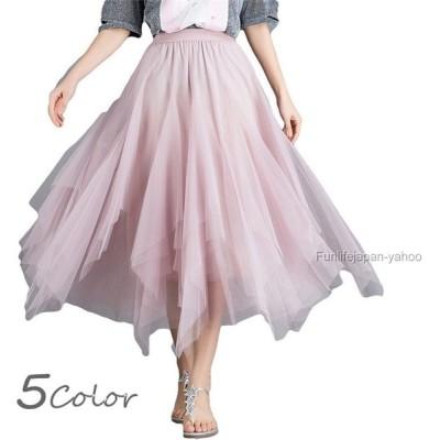 レディース チュールスカート 夏 Aラインスカート   アシンメトリー プリーツスカート 大人気  細身のシルエット 流行