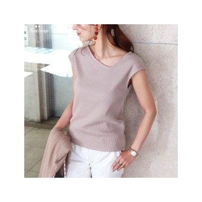カットソー、Tシャツ半袖(柄、パターン) Tシャツ テレコリブ アシメネック フレンチスリーブ