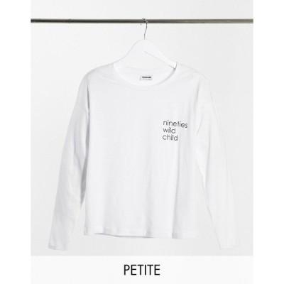ノイジーメイ レディース Tシャツ トップス Noisy May Petite long sleeve slogan T-shirt in white White
