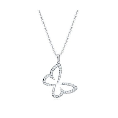 """Carleen 14k Solid White Gold CZ Cubic Zirconia Butterfly Necklace Dainty Statement Pendant Delicate Fine Jewelry for Women Girls, 16"""" Chain【並行"""
