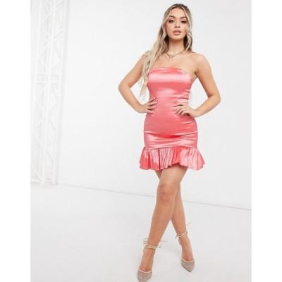 クラブエル ロンドン Club L London レディース ワンピース バンドゥ ミニ丈 ワンピース・ドレス Club L Bandeau Satin Peplum Mini Dress In Coral コーラル