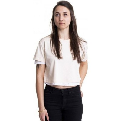 アーバンクラシックス Urban Classics レディース Tシャツ トップス - Full Double Layered Whitesand/White - T-Shirt beige