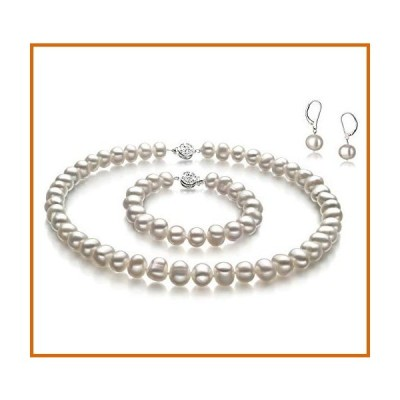 送料無料 (16.0 inches) - PearlsOnly Kaitlyn White 8.0-8.5mm A Freshwater Cultured Pearl Set