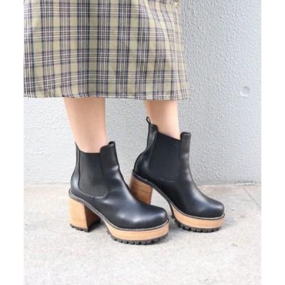 ブーツ サイドゴアビブラムソール厚底ショートブーツ