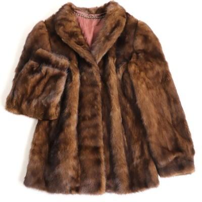 良品▼MINK ミンク 本毛皮コート ブラウン 毛質艶やか・柔らか◎