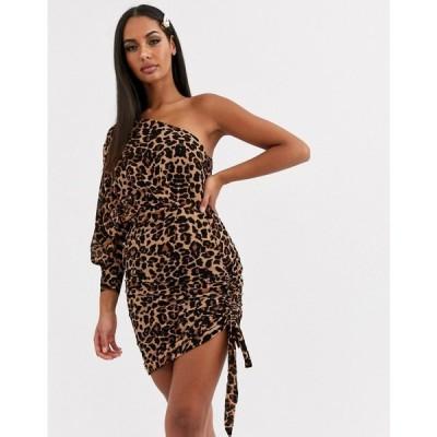 ラブアンドアザーシングス Love & Other Things レディース ワンピース ワンピース・ドレス one shoulder dress in brown leopard ブラウンレオパード