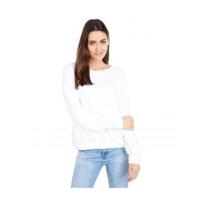 Mod-o-doc モッドオードック レディース 女性用 ファッション パーカー スウェット Cashmere French Terry Long Sleeve Boatneck Sweatershirt - White
